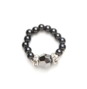 black beaded stretch ring with black crystal accent piece