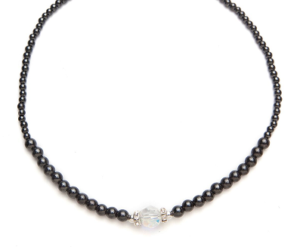 Black Magnetic Beaded Necklace with Single Crystal