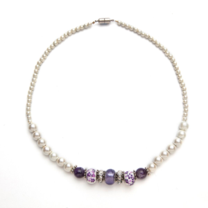 White Magnets, Amethyst, Porcelain and Crystal Magnetic Beaded Necklace