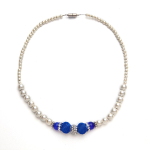 White Necklace with Dark Blue Cat's Eye and Blue Mesh Beads