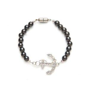Black Crystal Anchor Magnetic Stretch Bracelet