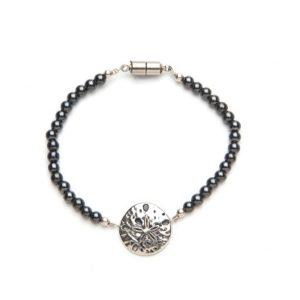 Sand Dollar Black Magnetic Clasp Bracelet