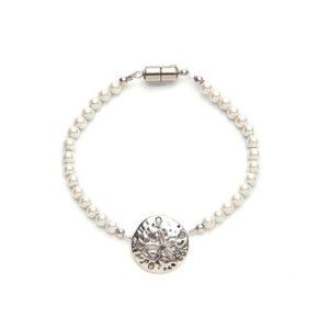 Sand Dollar White Magnetic Clasp Bracelet