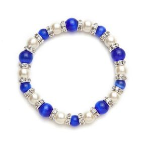 White and Dark Blue Cat's Eye Magnetic Stretch Bracelet