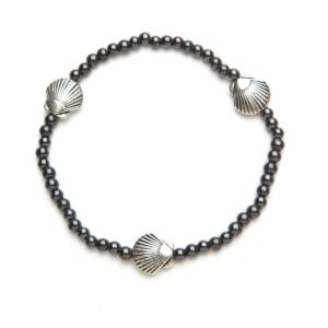 Black Magnetic Stretch Anklet with 3 Silver Seashells