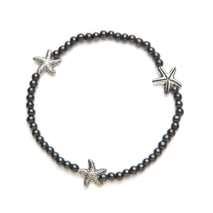 Black Magnetic Stretch Anklet with 3 Silver Starfish