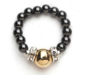 black beaded stretch ring with gold ball accent