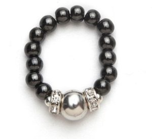 Black beaded stretch ring with silver accent ball