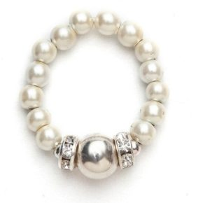 white beaded stretch ring with silver ball