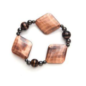 Black and Copper Magnetic Stretch Bracelet