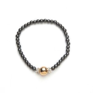 Gold Crystal Ball and Black Beaded Magnetic Stretch Bracelet