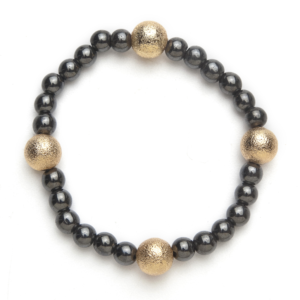 4 Gold Crystal Ball and Black Magnetic Stretch Bracelet