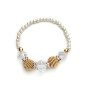 Gold Coil and Crystal White Magnetic Stretch Bracelet