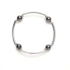 Silver Tube Magnetic Stretch Bracelet
