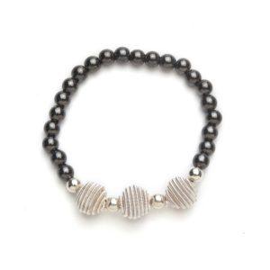 Silver Coil Black Beaded Magnetic Stretch Bracelet