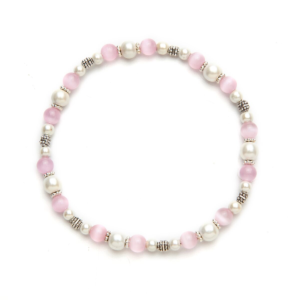 Pink Cat's Eye Magnetic Stretch Anklet
