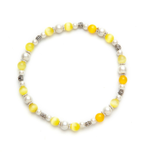 Yellow Cat's Eye Magnetic Stretch Anklet