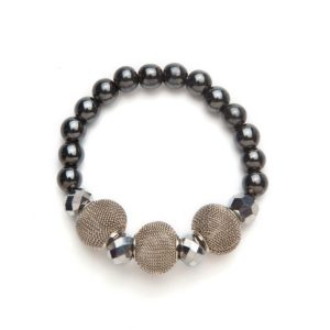Gray Coils and Crystal Magnetic Stretch Bracelet