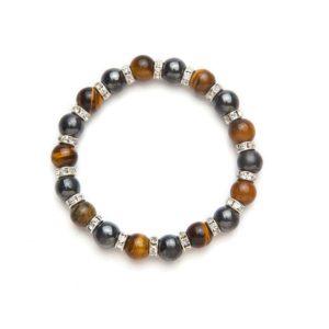 Tiger Eye and Crystal Magnetic Stretch Bracelet