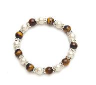 Tiger Eye and White Crystal Magnetic Stretch Bracelet