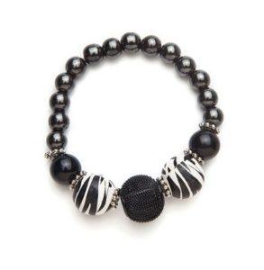 Black and Zebra Print Magnetic Stretch Bracelet