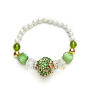 Peridot and Crystal Magnetic Stretch Bracelet