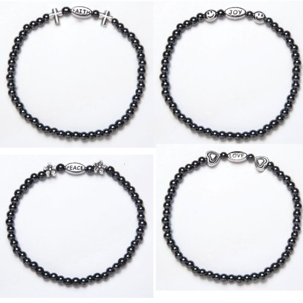 4 pack of magnetic inspirational bracelets. Black beaded with silver charms faith, peace, love, and joy