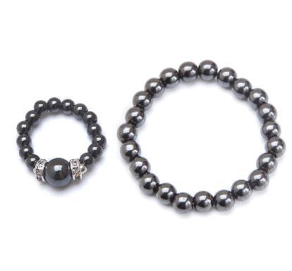 black magnetic stretch ring and bracelet set