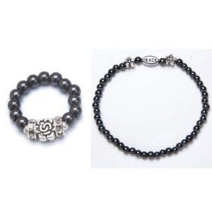 Silver Flower Magnetic stretch ring and bracelet set