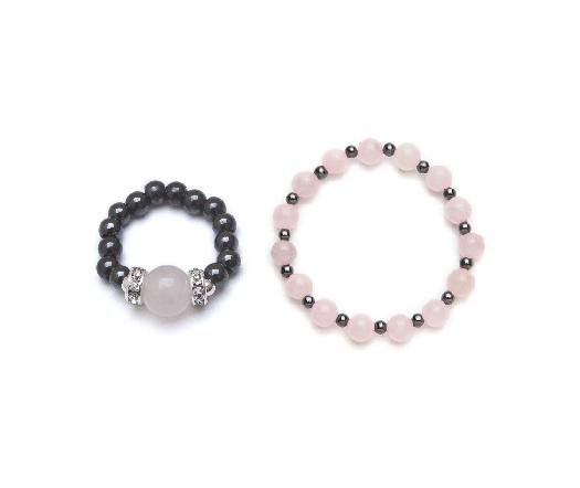 Rose quartz and black magnetic stretch ring and bracelet set