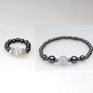 silver crystal magnetic ring and bracelet set
