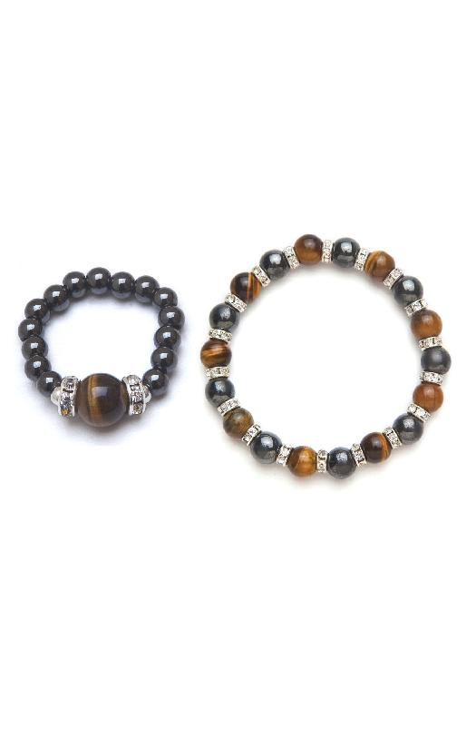 tiger eye and black magnetic stretch bracelet and ring set