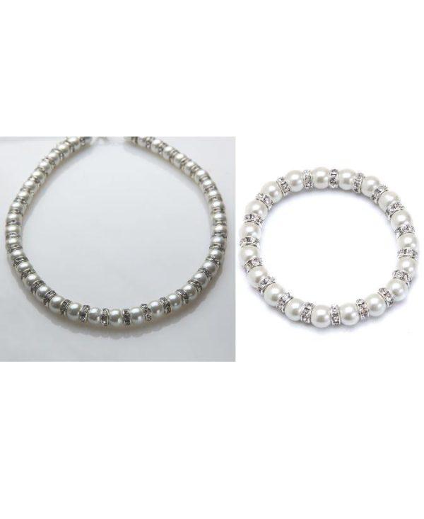 white crystal magnetic bracelet and necklace set