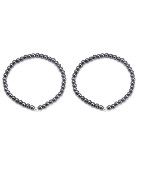 thin black stretch anklet and bracelet set with silver plated ball
