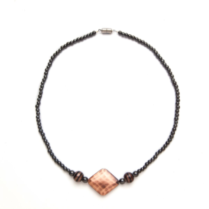 Black and Copper Colored Magnetic Beaded Necklace