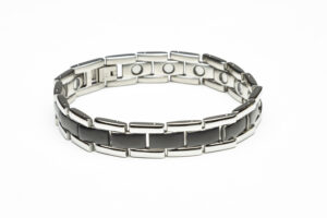 Two tone black and silver magnetic stainless steel bracelet