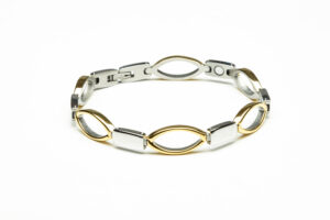 silver and gold plated stainless steel magnetic bracelet