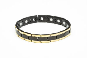 Black and Gold Two Tone Stainless Steel Magnetic Bracelet